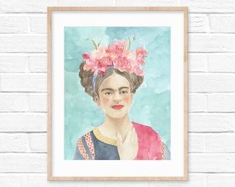 Watercolor portrait of Frida Kahlo | women portrait | wall art decoration | women artist | gifts for painters | art print | inspiring art |