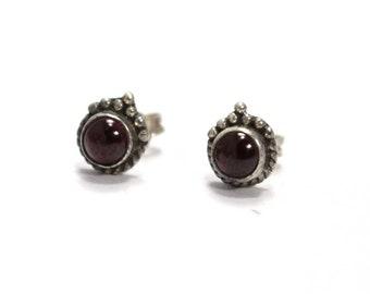 Garnet925 Sterling Silver Earring Handmade Jewelry free shipping