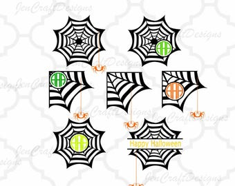 Spider Web Monogram Frames, Halloween Monogram Frame, Svg, Eps, Dxf, Png Files, Vector Art, Cricut, Silhouette, Digital Cut Files