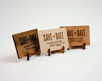 Wooden Wedding / Engagement Save the Date - Tribal Rectangular