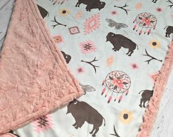 Boho Buffalo Blanket - Designer Minky - Blossom