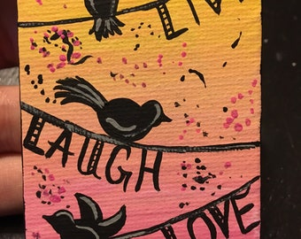Live Laugh Love Tweet Birds Full Size Painting