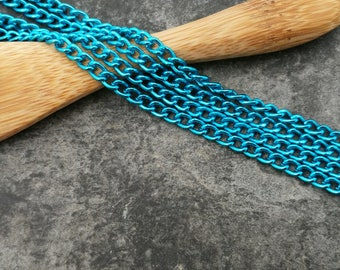 Turquoise chain, chain mesh oval turquoise Metal, chain, chain per meter