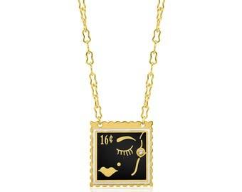 Face Stamp Enamel Necklace