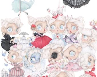 Tim Burton pop surrealism Lydia Deetz Corpse Bride Miss Peregrine Katrina van Tassel art print