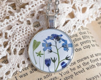 Forget-me-not blue pendant real flower necklace Forget-me-not Necklace resin jewelry botanical jewelry real plant jewelry epoxy jewelry