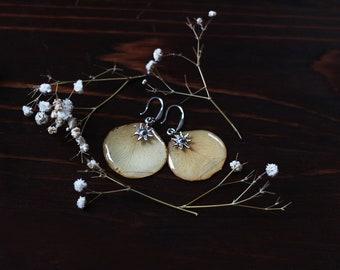 Real petal earrings Rose petal earrings yellow petal flower jewelry resin earrings botanical jewelry real flower jewellery pressed floral