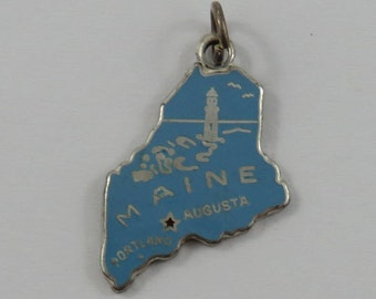 Map of Maine State With Blue Enamel Sterling Silver Vintage Charm For Bracelet