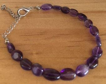 Amethyst Bracelet, Third Eye Chakra, Amethyst Gemstone Beads, Gemstone Bracelet, Adjustable Chain
