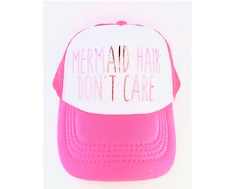 Kid Trucker Hat- Kids Mermaid Hair Don't Care mesh trucker hat