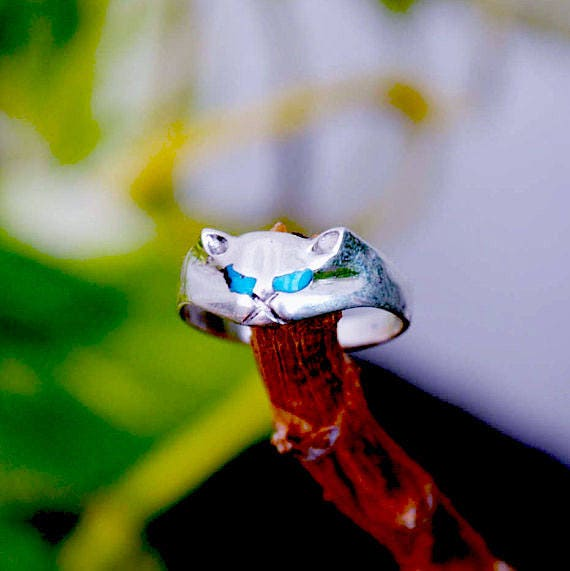 Cat ring sterling silver turquoise vintage, ring for girls, turquoise ring, cat rings, silver cat ring, animal ring, cats rings, vintage