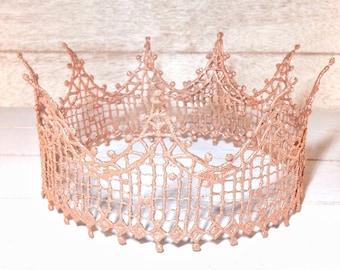 Rose Gold Crown, Birthday Crown, Princess Crown, Cosplay Crown, Halo Crown, Tiara, Lace Crown, Toddler Crown, Adult Birthday Crown