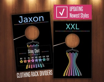 LLR Clothing Rack Dividers Newest Styles * Rack Size Hanging Dividers * Sizing Divider for Clothes Racks * Hanger Tags * Style & Size Charts