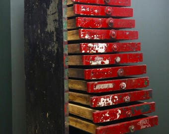 Antique Red 15 Wood Drawer Hardware Store Cabinet Apothecary Primitive Nut and Bolt Industrial Metal Storage Cabinet Vintage Boutique Decor