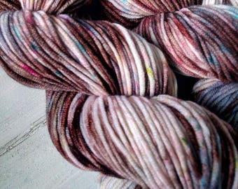 Chocolate. Hand-dyed merino yarn. 100g