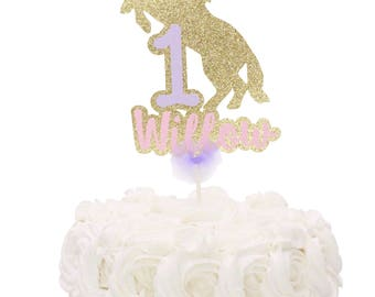Unicorn Cake Topper, Gold Unicorn Cake Topper, Unicorn Party Decor, Custom Name Unicorn Cake Topper,