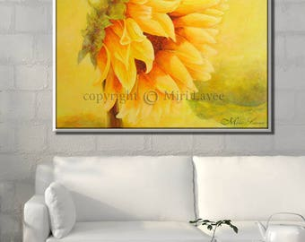 Extra Large Art, Yellow Canvas Art, Yellow Painting, Extra Large Wall Art, Huge Painting, Extra Large Painting, Sunflower Decor
