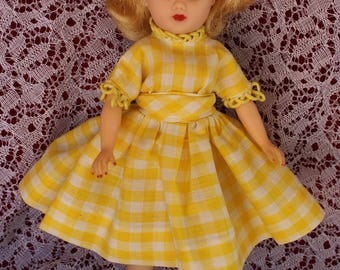 "HOLD 1950's Vintage fashion doll dress in yellow and white checked cotton and cord loop embellished trim for your 10.5"" fashion dolls Bright"