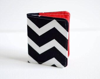 Slim Wallet - Thin Wallet - Black Wallet - Bi-fold Wallet - Chevron Wallet - Business Card Holder - Handmade Wallet - minimalist wallet