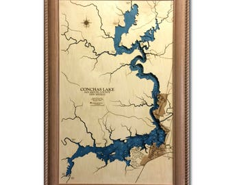 Conchas Lake Dimensional Wood Carved Depth Contour Map - Customize With Your Home Information