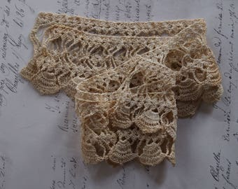Lovely Bits of Vintage Lace / Crochet Edging Sewing Trim / Craft Doll Supply / Historic Costume Prairie Steampunk Victorian Lace Edging