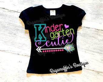Kindergarten cutie shirt, Kindergarten shirt, back to school shirt, first day of school, girls school shirt, girls back to school shirt