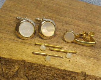 Vintage Goldtone Mother of Pearl Cufflinks with Tie Clasp Clip and 3 Shirt Button Studs