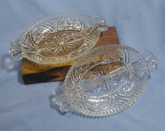 2 Beautiful Vintage Glass Relish Dishes