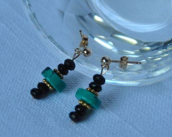 ear-studs, natural turquoise, green, black, agate, made in Italy, gold-filled 14KT