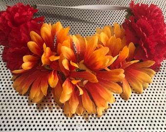 Sunflower and Carnation Headband
