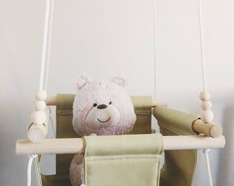 baby swing, indoor swing, baby hammock, fabric swing, wooden swing, natural swing, porch swing, outdoor swing, baby shower gift
