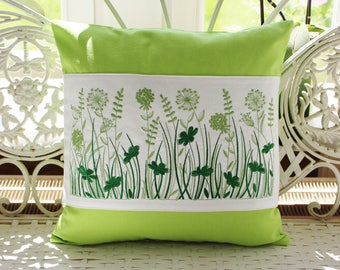 Pillow cover, grasses embroidery