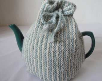 wool knit tea cosy, blue stripe tea cosy, new home gift, modern tea cosy, duck egg blue cosy, stylish stripe tea cosy, ideal tea lovers gift