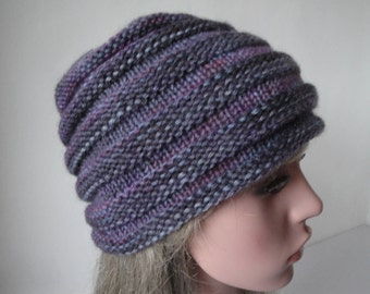 purple beehive hat, hand-dyed wool hat, wool knit cap, grey-purple beanie, woman hat size s-m, artisan dyed wool, made in Engand, gift idea