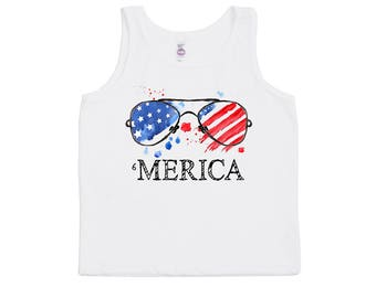 American Tank Top - 'Merica Tank Top - Fourth of July Tank Tops - Independence Day Tank Tops - Unisex Kids Tank Tops - Trendy Kids