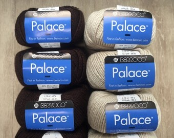 Berroco PALACE 8.95 +1.25ea to Ship - Merino Wool & Silk ARAN Weight Yarn Brown 8974 Cream 8903 Twisted Ply, Soft, Glossy, Bouncy MSRP 10.00