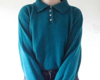 Vintage Teal Collar Knit Sweater small. 70's 80's retro jumper