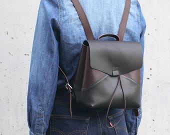Leather backpack black and brown Divalli B00112 | Кожаный рюкзак