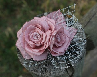 Rose Gold Bridal Flower Fascinator,pale Blush pink Rose Bridal Headpiece,bridal hair clip,Blush wedding Hair Flower,Women girl hair flower
