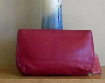 Coach Cosmetic Case Large In Red Leather With Brass Hardware Style No. 7172- Made In Costa Rica-VGC