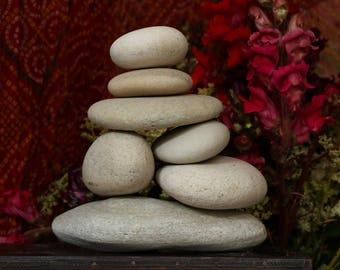 Zen Garden Rocks - Natural Beach Stone Stack - Large Ecru Pebbles - Balance - Meditation - Housewarming Gift