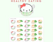 """Veggies Stickers - """"Healthy Eating"""" [Salad Stickers, Salad Planner Stickers, Vegetarian Stickers, Character Stickers] - S256"""