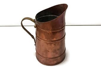 antique copper pitcher, copper jug, made in france copper, french home decor