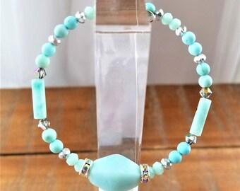 Natural Turquoise Aquamarine Semi-Precious Gemstone Bracelet, Bangle, Healing Stones, Silver Plated, Crystal
