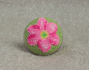 Gift for her Pink flower ring Cross stitch jewelry Embroidered ring Flower jewelry Floral ring Pink jewelry Hand embroidered gift Women gift