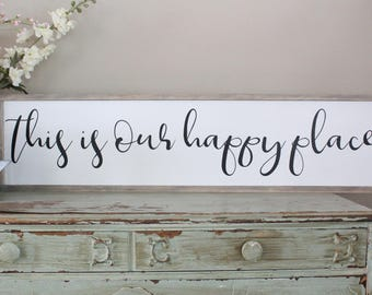 This Is Our Happy Place Framed Wood Sign Living Room Wall Art Farmhouse Decor