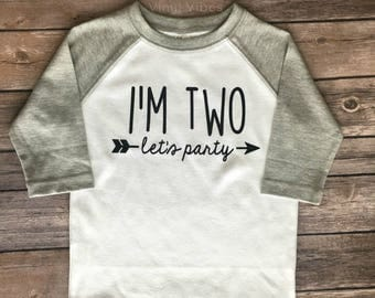 I'm Two Let's Party, I'm One, I'm Three, I'm Two, I'm Four, I'm Five, I'm Six, birthday shirt, lets party, lets party shirt, birthday raglan