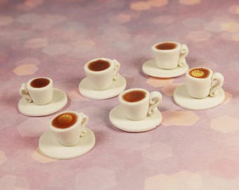 "Handmade Miniature Food Set for Dollhouse 1/6 ""3 cups of tea with lemon + 3 cups of tea"""