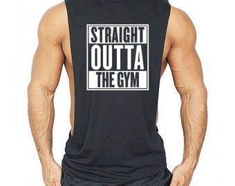 Straight Outta The Gym Low Cut Muscle Gym Vest - Men's Gym Sleeveless Sideless Muscle Singlets Tank Top \ Premium Quality !  Fast Delivery !