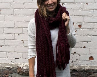 Open Ended Ribbed Scarf   Tassel Winter Scarf